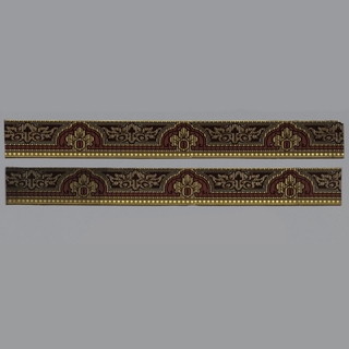 Two borders of arched and scalloped design with floral motifs in brown, gold, and burgundy.