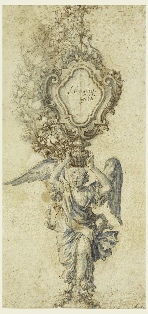 An angel, standing on a base, carries in his raised hands a capital, upon which an escutcheon stands.  It is crowned by a cross and surrounded by flower sprays as shown in the left side.