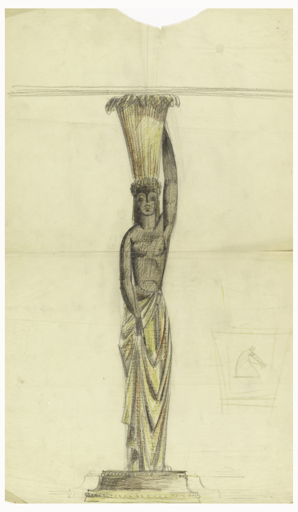 Figure of a tall, African woman. She is bare-breasted but wears a long, draped skirt in shades of yellow, orange and gray. She is balancing a tall basket on her head. Figure is set on a plinth.