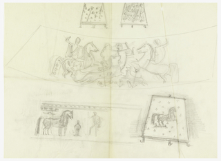 Two friezes decorated with a medieval battle scene, horse, a dog, horsemen (upper). Sketches of horse, horsemen (lower). These framed sketches with details of frieze (top and lower right).
