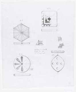 Four designs for coasters in cork, including plan and profile.  Upper left #5, hexagonal shaped, lined pattern  Upper right #7, square shaped, geometric pattern  Lower left #6, round shaped, flower-like pattern Lower right #8, oval shaped, 5 ball pattern Three logos of the Armstrong Company