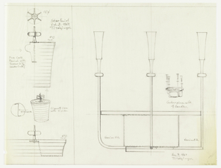 "Top left: star finial, screw (2 3/16"") shown on left side of cylindrical container.  Bottom left, cigarette urn with bumblebee finial. Right, table centerpiece with three candle holders, small sketch showing ""centerpiece with four candles"""