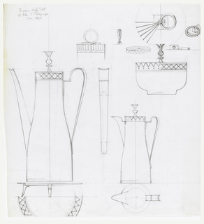 Design for three-piece coffee set: coffee pot with lid detail, teapot with lid detail and sugar bowl; ornamental details scattered on sheet as possible decoration.