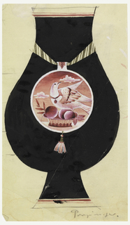 Black, gourd-shaped vase with striped ribbon around the neck. Pendant is suspended from the ribbon; designs inside the pendant include a dove, a basket of  peaches, and clouds in pink tones.