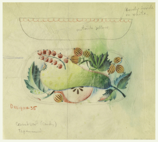 "Inside of bowl decorated with fruit arrangement, including a large pear, berries and leaves. Rim of the bowl is scalloped in red.  Inscribed on exterior of the bowl: ""outside in yellow""; outer rim, ""border inside on white."""