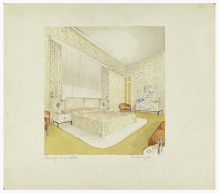 Bedroom interior in white, yellow, and orange tones; wallpaper, drapery and bedcover in fern pattern; dresser and matching bedside tables in white (lacquer) decorated with Greek key motif; cane headboard with attached swing arm lamps; bed is set on a white rug.