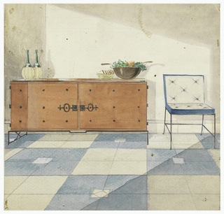 Design for a sideboard on metal base. Front of sideboard has two large doors, latches and decorative studs.  At right, tufted side chair on metal base; blue and white geometric design on floor (carpet?).
