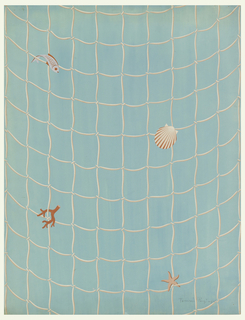 Coral and pink fishnet design on an aqua-green ground; scattered motifs of a fish, shell, coral and starfish.