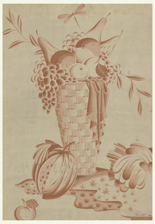 A tall, woven basket filled with oranges, pears, grapes, and apples rests on grass.  Below the basket are, reading left to right, a cherry, melon, and rear part of a hen (cut off at the lower right).  A dragonfly is above the fruit basket.
