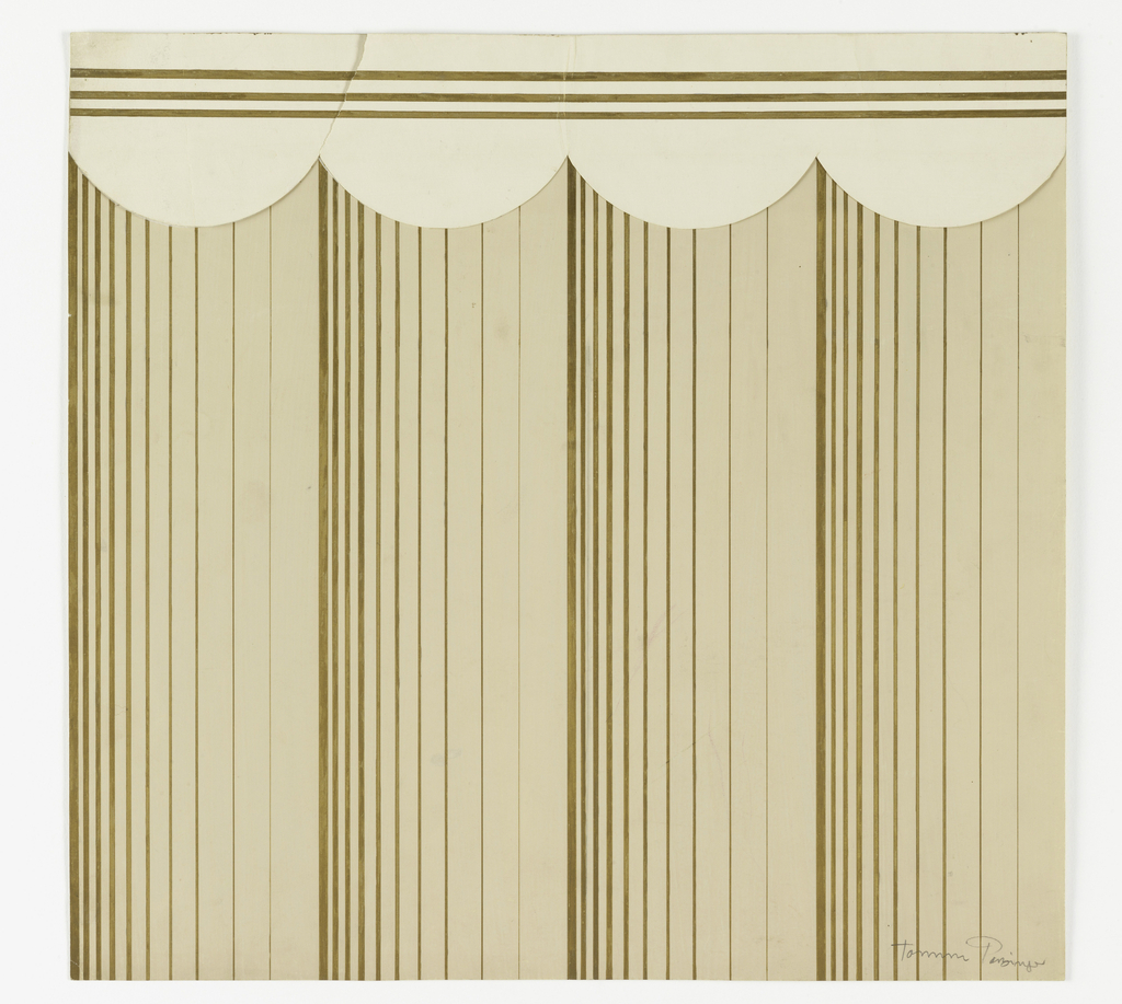 A series of ten vertical gold stripes of decreasing width repeated four times on beige ground.  A frieze on upper-edge of three horizontal gold stripes against cream scalloped border.  On border, the left scallop is unattached; it is approximately 3 1/2 x 5 3/8 inches.