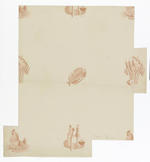 Motifs in two alternating rows:  row one, fruit in a basket alternate with whole fish and lemons on platter; row two, hen on a casserole dish alternate with three bottles of wine with a wine glass. All groupings are in shades of pink against a pale- pink ground.