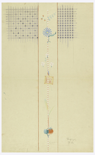 Central panel: thin red and white pole decorated with stylized flowers, leaves and a strawberry; side panels: upper quadrants, blue and white checks.