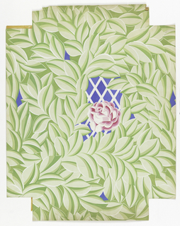 Dense green leaf pattern over white lattice on blue ground and large pink rose at center. Three loose corners (1998-19-134-b/d) with matching roses.   Four corners cut out, three of which are located in an envelope with the drawing.