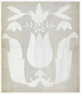 In white on gray ground, a large exotic tulip flanked by attached leaves, leaf pendant above.   Horizontal crease across center of drawing, separated in areas, tears at edges, paper missing.