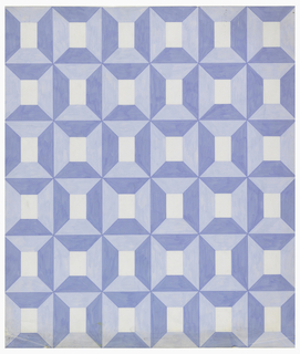 Pattern consisting of thirty-six receding squares in two shades of blue on white ground.