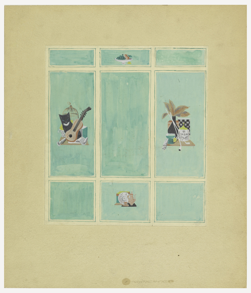 Wall divided into nine turquoise panels: three horizontal panels across top, center panel decorated with a bowl containing grapes and peaches; three vertical panels at center, still-life at left consists of a cat, banjo, and birdcage, still-life at right consists of a vase, tobacco jar, pipes and checkerboard; three square panels along the bottom, still-life at center shows teapot, cup and saucer, and plate on a black tray.