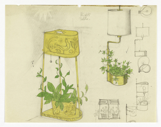 Left design, brass (?) table lamp, shade separated by three rods to base, potted plant on base. Right design, brass (?) table lamp, base serves as a planter, swing arm, white shade. At right, sketches in graphite of light bulb and lamps.