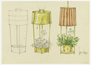 Designs for table lamps from left to right: outline of table lamp consisting of three-tiered shade supported by four rods connecting to base in form of a planter; brass (?) table lamp with pierced design on shade, supported by four rods connecting to planter base; table lamp, red and white striped shade, three rods connecting to planter base.