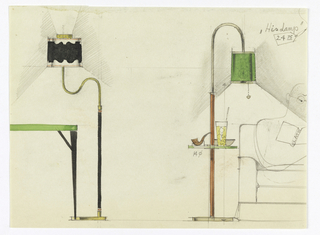 At left, standing floor lamp with double-curved neck next to parallel view of card table with green top. At right, standing lamp table with green shade; a pipe and drink glasses are on the glass table. Partial view of a man sitting in a club chair while reading Plato.