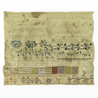 Bands of whitework and withdrawn element work at top, with floral borders and geometric fills in polychrome silks.