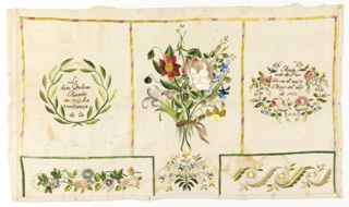 "Sampler is divided into five panels by striped borders. In the largest center panel is a vase of flowers. On each side is a wreath containing the inscription ""Lo izo Dolores Obando en la enseñanza de la Academia de Puebla en el Mes de Mayo del año de 1853."" At the bottom are two floral bands."