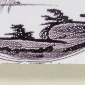 Square tile with decoration in manganese on a white ground. Subject: a medallion enclosing a landscape at the shore, with two boats, figures rowing; large sponged tree at left. Symmetrical ornaments at the corners.
