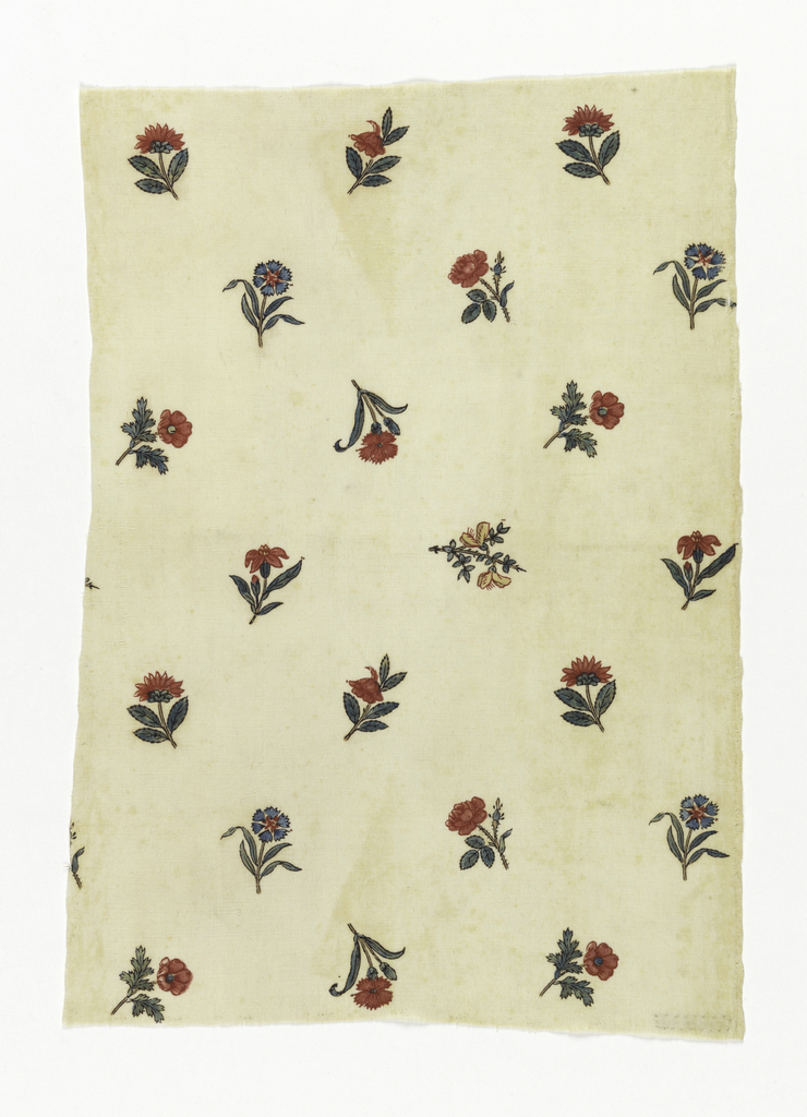 """small piee of cream white cotton, block-printed in small detached flowers, about 1-2"""" long, carntaons, rose, etc., some reversed, some sideways. Colors red, blue, yellow, green and brown for outlines. Right selvage present."""