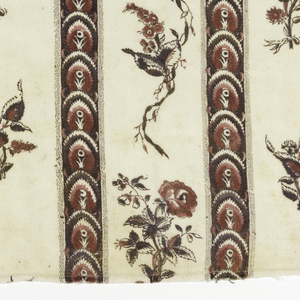 Rectangular fragment in off-white with a design of vertical stripes and flowers. Stripes have a pattern of imbricated leaves while white areas have flower sprays and curling vines.