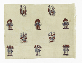 Fragment of cream white cotton, block printed in detached design of small flower clusters and clusters of buds, with roots showing; colors now appearing, red, brown and blue. Manufacture de Toiles Peintes de Pourtales and C. a Minster en Alsa ---. This piece was cut by donor from piece illustrated in Clouzot, Plate 66, showing factory stamp as given.