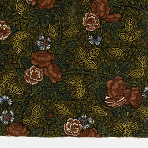 Curving stems with roses surrounded by a tiny leaf pattern on a dark background.