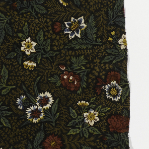 Allover pattern of small flowers surrounded by fine leafy sprigs.