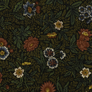 Allover pattern of brightly colored flowers and massed fine leaf sprigs on black background.