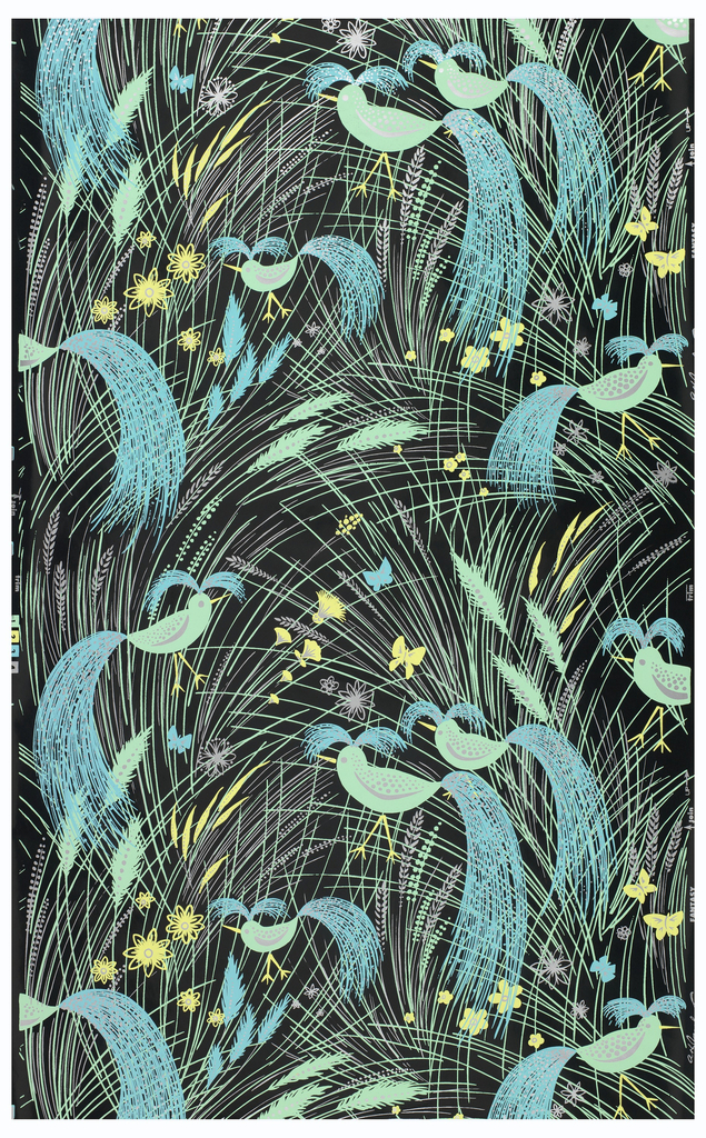 """On black shiny ground, all-over assymetrical fill lines in sprays suggesting grass, in green, yellow, light blue, silver. Scattered ears of wheat, flower forms, butterflies. In each repeat, placed assymetrically, six bird shapes in green with silver markings and head and tail plumage represented by sprays of blue lines dotted with silver. Printed in margin: """"AH Jacobs, Co., Fantasy""""."""