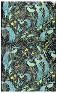"On black shiny ground, all-over assymetrical fill lines in sprays suggesting grass, in green, yellow, light blue, silver. Scattered ears of wheat, flower forms, butterflies. In each repeat, placed assymetrically, six bird shapes in green with silver markings and head and tail plumage represented by sprays of blue lines dotted with silver. Printed in margin: ""AH Jacobs, Co., Fantasy""."