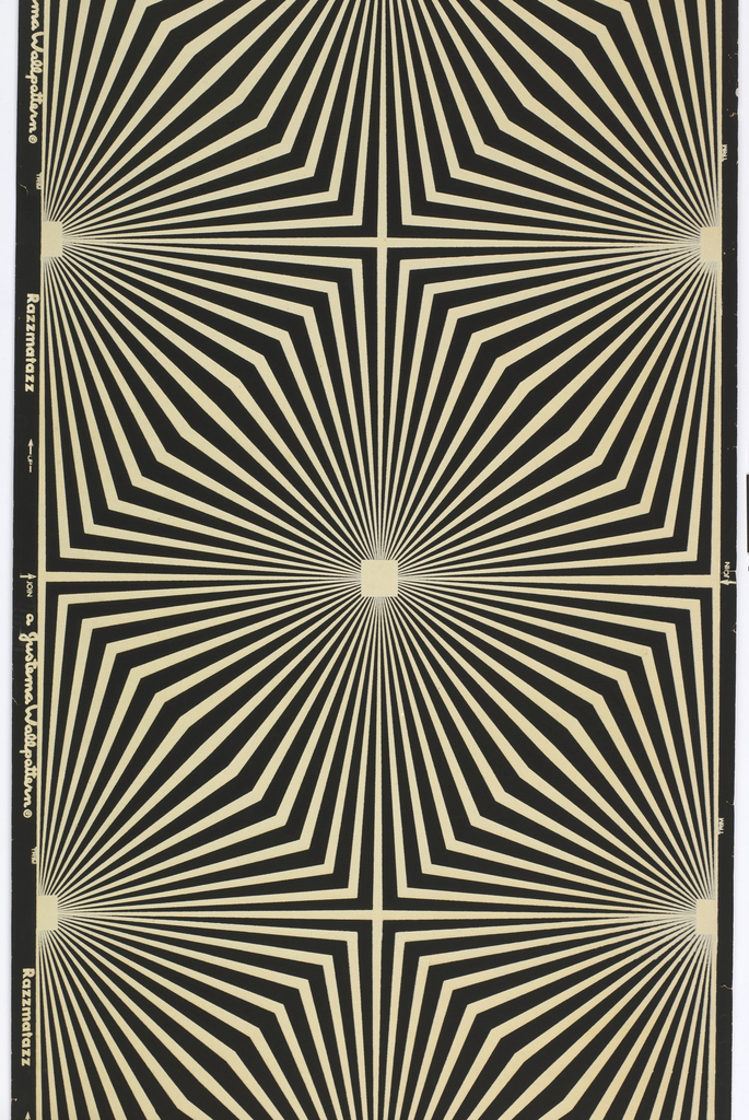 "Geometric ""op art"" pattern of off-white flock on black ground. Large-scale diamonds formed by white lines radiating from central squares, abruptly bending to define limits of the larger diamond forms."