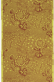 On mustard-yellow ground, pattern in flat red of flower, grass, and leaf forms.