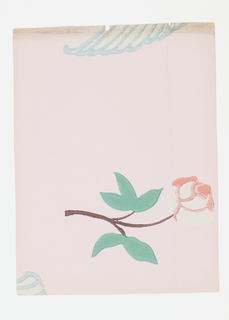 Single red rose on stem with foliage, partial bird wing above. Printed in red, green pale blue on pale pink ground.