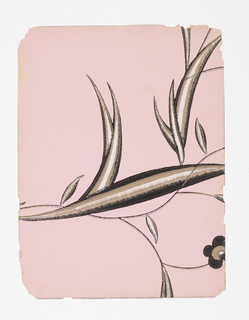 In an envelope, 22 pieces of wallpaper. Stylized foliage and vine with a single flower visible. Printed in white, gray and black on pale pink ground.