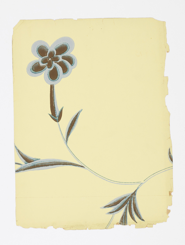 In an envelope, 22 pieces of wallpaper. Single stylized flower on elongated vine. Printed in blue, gray and black of light yellow-green ground.