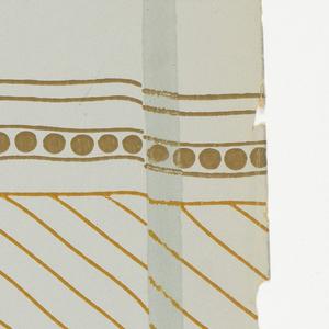 """In an envelope, 22 pieces of wallpaper. -3) """"Blätterwald"""" by Tommi Parzinger for Flomershein & Steinman; -13 and -14) """"Linden"""" by Tommi Parzinger; -5 and -6) """"Les Colombes"""" by Paul Poiret."""