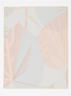 Overlapping stylized leaf forms, printed in pale pink and blue on lighter blue ground.