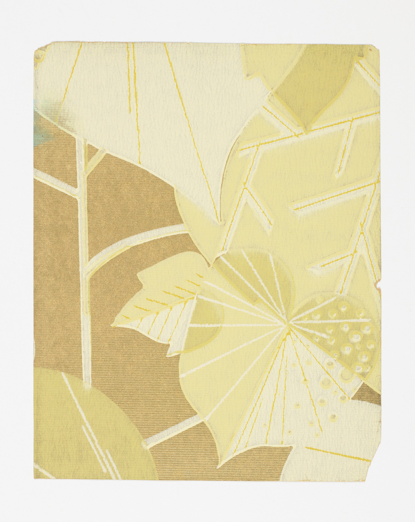 Overlapping stylized leaf forms, printed in shades of green on tan ground.