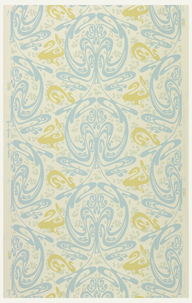 Art nouveau pattern of swirls arranged symmetrically along a vertical axis. Printed in turquoise and tan on off-white ground.
