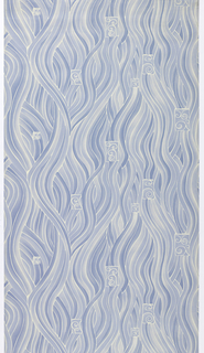 Pre-trimmed paper-backed washable vinyl wallcovering. Swirls of water or flames printed in shades of blue.