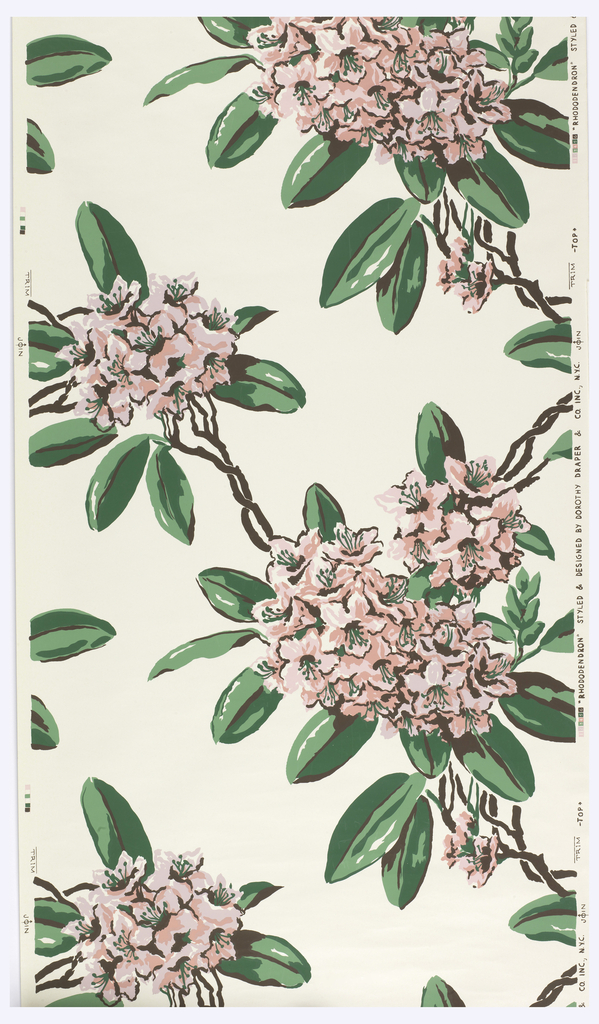 Large-scale pink and white rhododendrons, trailing diagonally. Printed in pink and green on white ground.