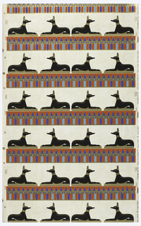 Egyptian style, black dog with gold accents on gold platform, sitting atop horizontal bar of blue, red and gold. Background pattern of cut stone in brick pattern.