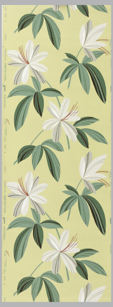 Abstract flowers with elongated leaves of grey, white, red, green, and brown on a yellow ground.