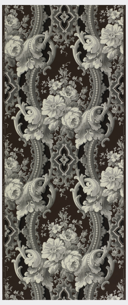 White and grey rococo revival scrolls on a wine ground.