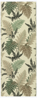 Fern fronds printed in shades of green, brown and tan on a beige ground.
