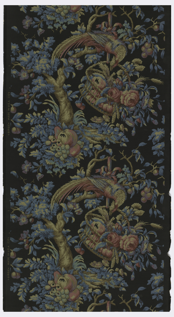Large colorful bird perched in a tree. The bird is looking into a basket containing flowers and wheat. There is fruit sitting around the base of the tree. Printed in red, blue and tan on a black ground.
